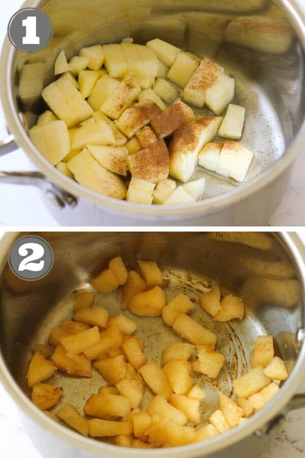 step by step photo instructions on how to make stewed cinnamon apples.