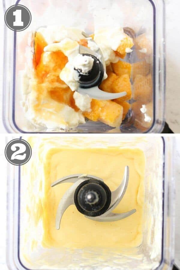 step by step photo instructions on how to make mango popsicles.