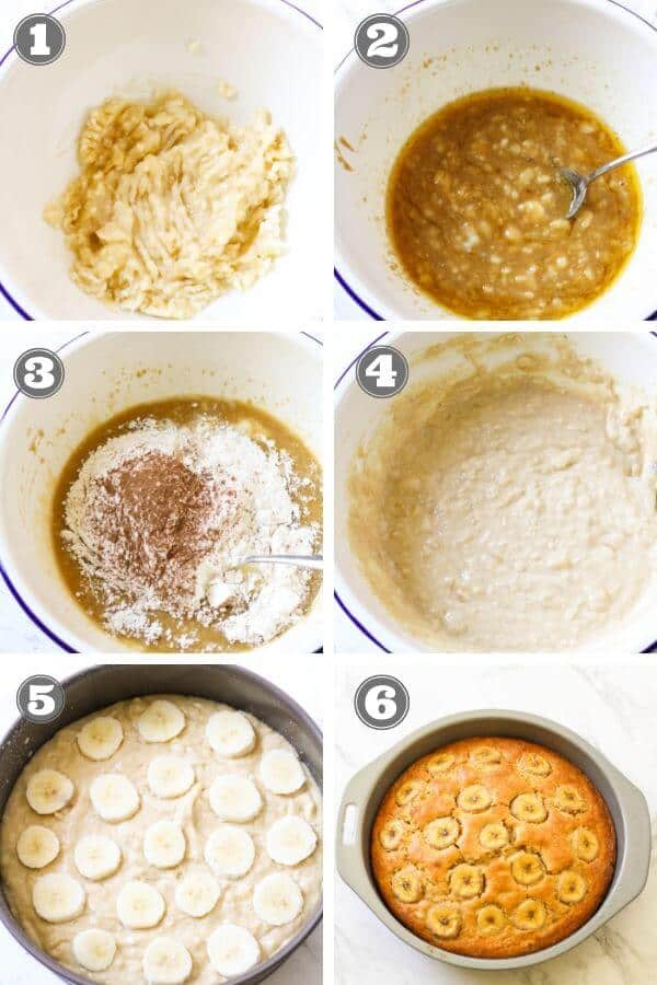 Step by step photo instructions on how to make easy banana cake.