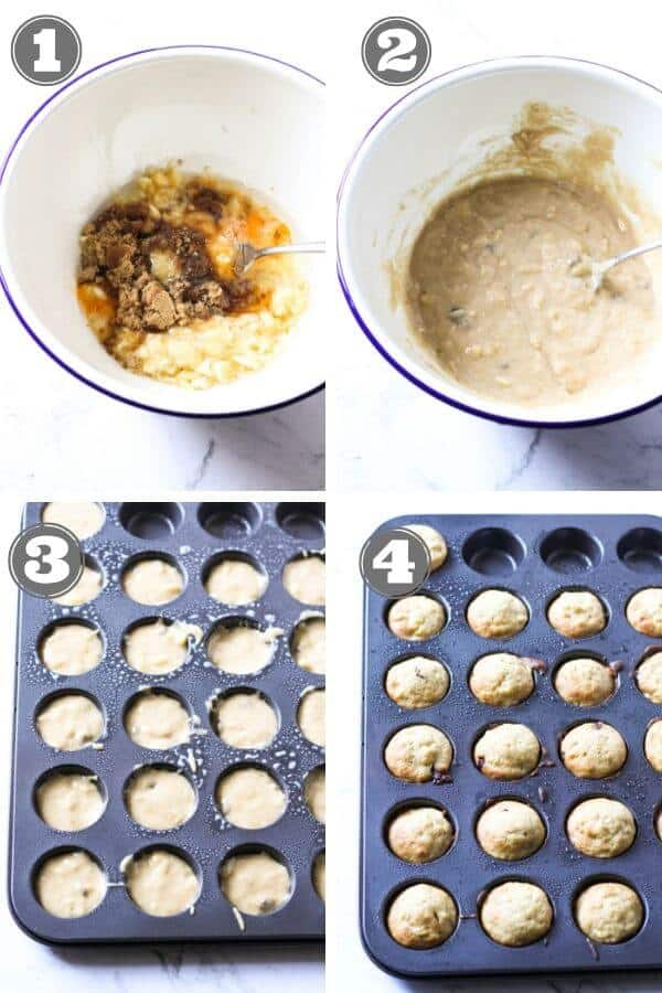 step by step photo instructions on how to make mini banana muffins.