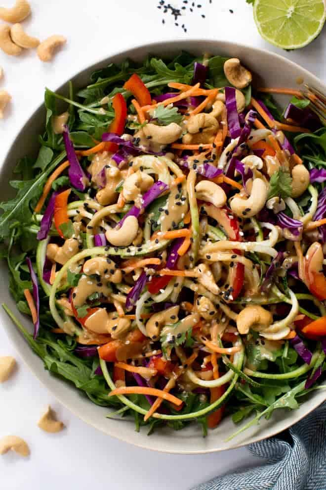 Zucchini Noodle Pad Thai Salad with Sesame-Cashew Dressing