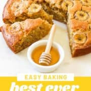 "banana cake sliced on a white marble serving plate with text overlay ""best ever banana cake""."