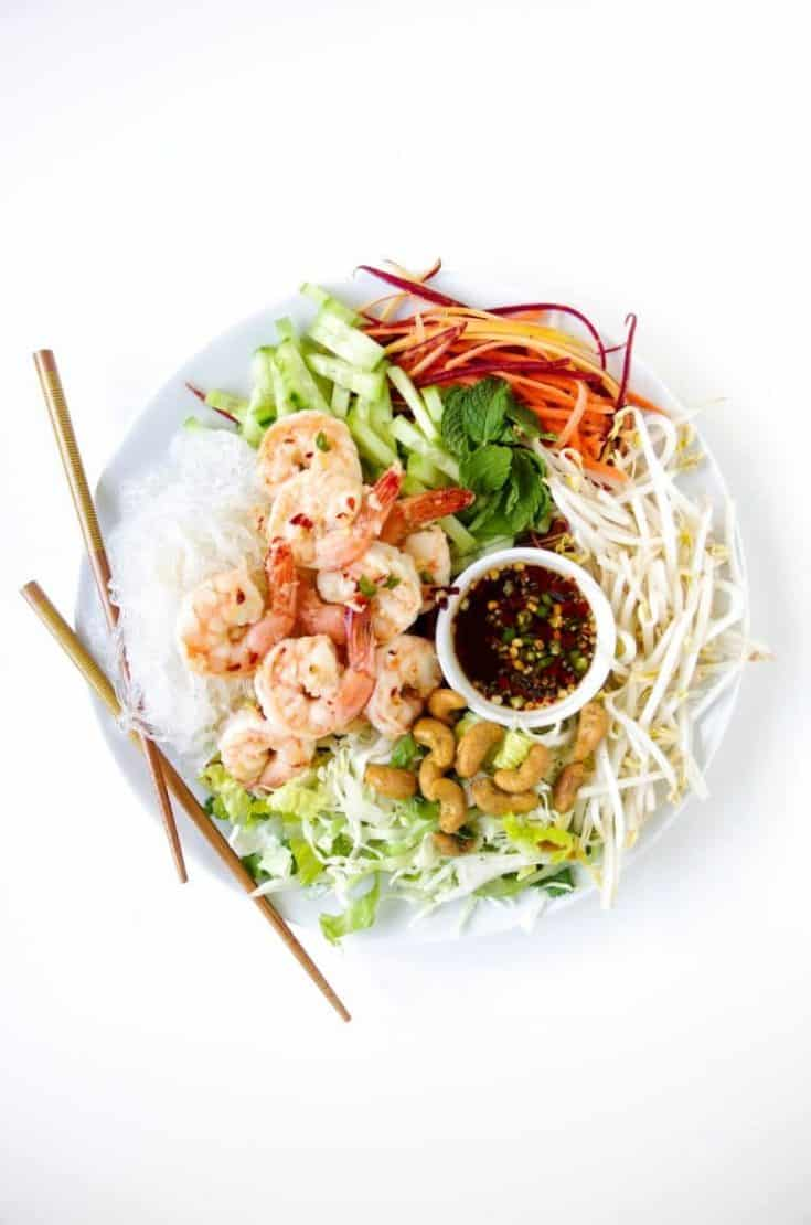 Vietnamese Garlic Prawn Noodle Salad