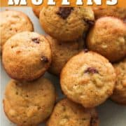 """mini muffins on a plate with text overlay """"mini banana muffins""""."""