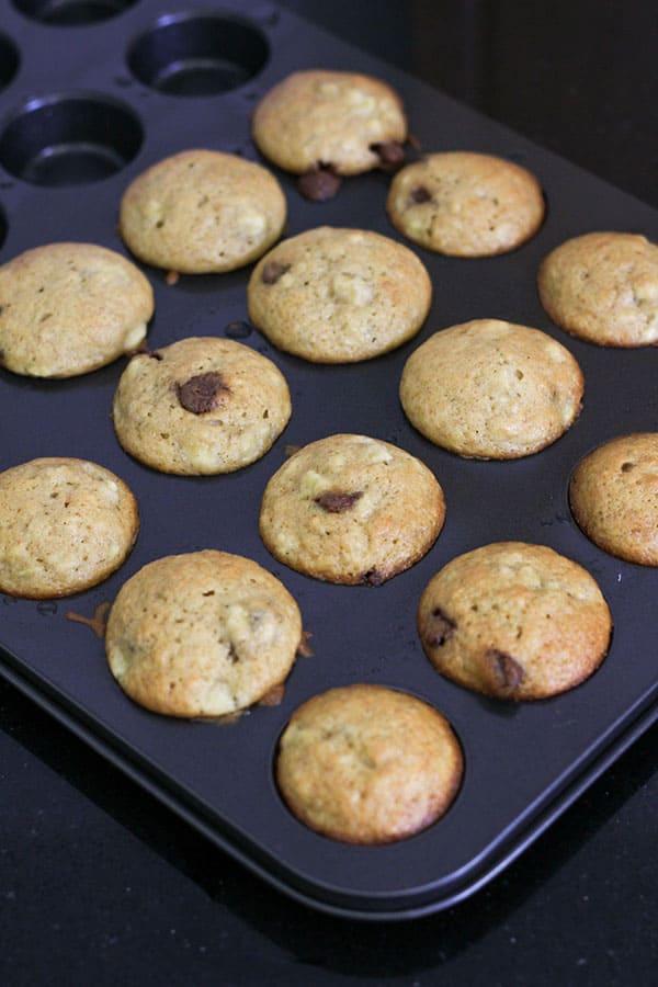 mini muffins in a muffin tray.