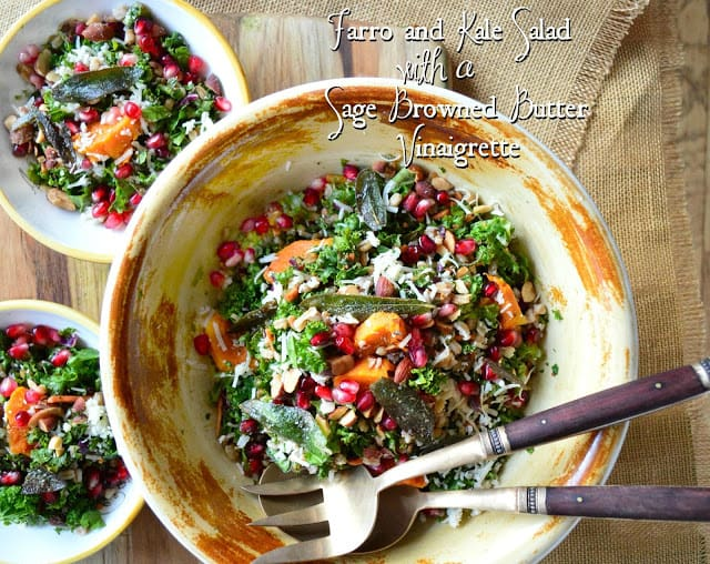 Farro and Kale Salad with a Sage Browned Butter Vinaigrette