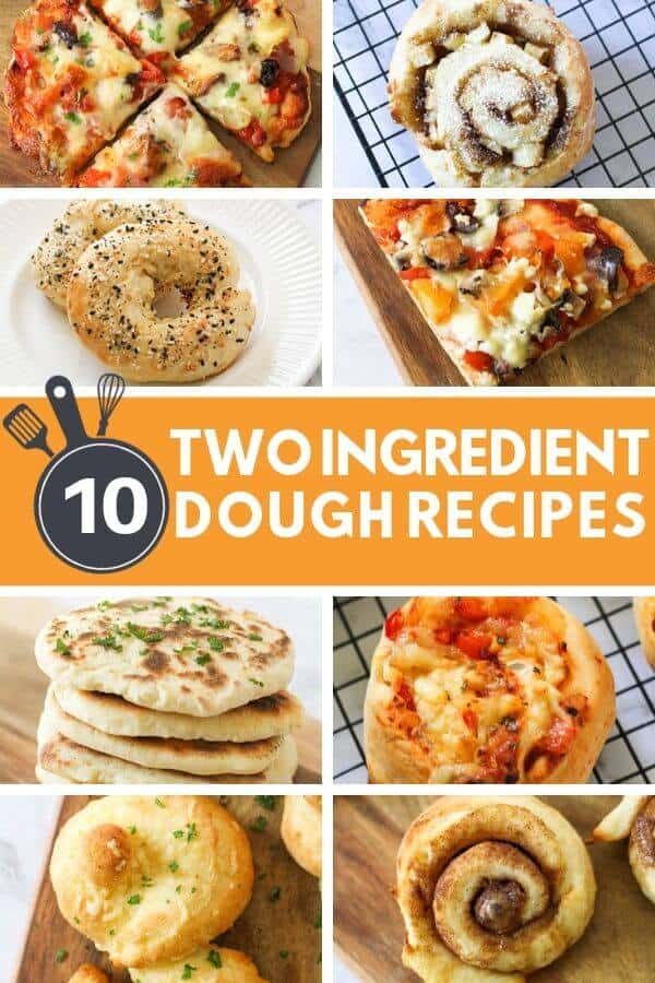 collage of two ingredient dough recipes.