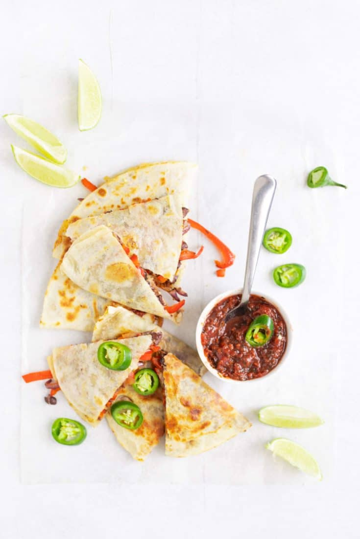 Black bean and vegetable quesadilla with salsa