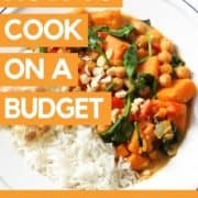 """A plate of curry with text overlay """"how to cook on a budget - cook it real good podcast""""."""