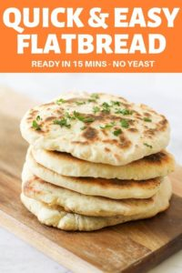 """yoghurt flatbreads stacked on top of each other on a wooden board with text overlay """"quick & east flatbread"""""""