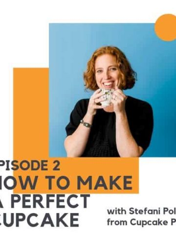 """image of a red headed woman holding a mug with text overlay """"episode 2 - how to make a perfect cupcake with Stefani Pollack from Cupcake Project"""""""