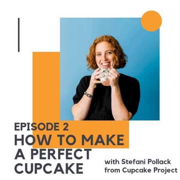 "image of a red headed woman holding a mug with text overlay ""episode 2 - how to make a perfect cupcake with Stefani Pollack from Cupcake Project"""
