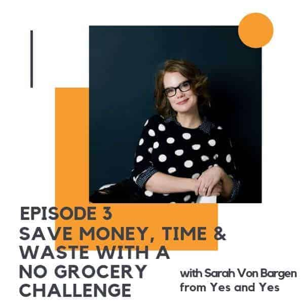 "Image of a lady with red hair with text overlay ""episode 2 - save money, time and waste with a no grocery challenge"""