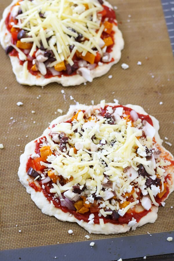 Roast Pumpkin Pizza on a baking tray ready for the oven.