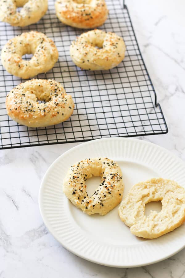 2 ingredient bagels on a white plate.