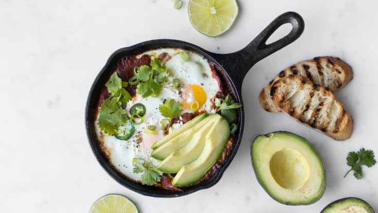 Mexican Shakshouka with Avocado and Jalapeños