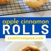 "sweet rolls on a wire rack with text overlay ""apple cinnamon rolls""."
