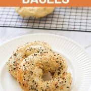bagels on a white plate.