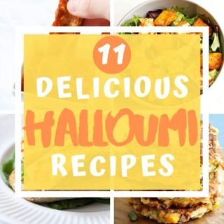 """collage of halloumi images with text overlay """"11 delicious halloumi recipes""""."""