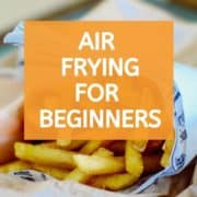 "Fries with text overlay ""air frying for beginners""."