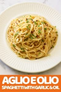 Spaghetti with Garlic & Oil on a white plate.