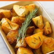 Crispy Roast Potatoes in a serving dish.