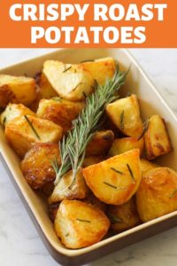 Crispy Roast Potatoes in a serving dish.