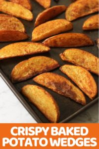 Crispy Baked Potato Wedges on a baking tray.