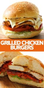 Grilled Chicken Burger on a wooden board.