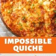 Impossible Quiche in a glass pie dish.