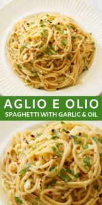 "Spaghetti with Garlic and Oil on a white plate with text overlay ""Algio E Olio"""