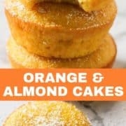 Orange and almond cakes stacked on top of each other on a marble board.