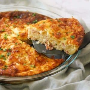 Impossible Quiche in a glass pie dish.
