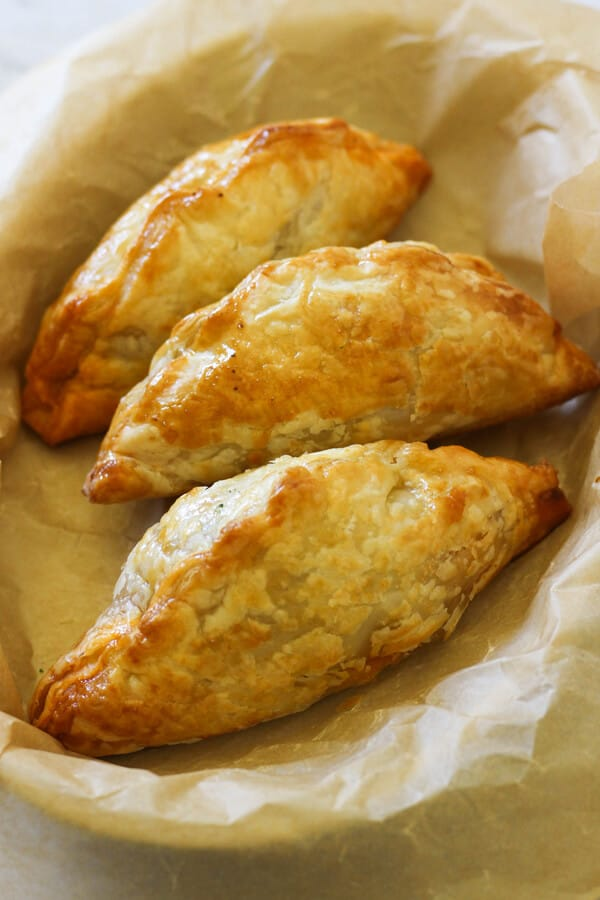 Beef Pasties in a serving dish.
