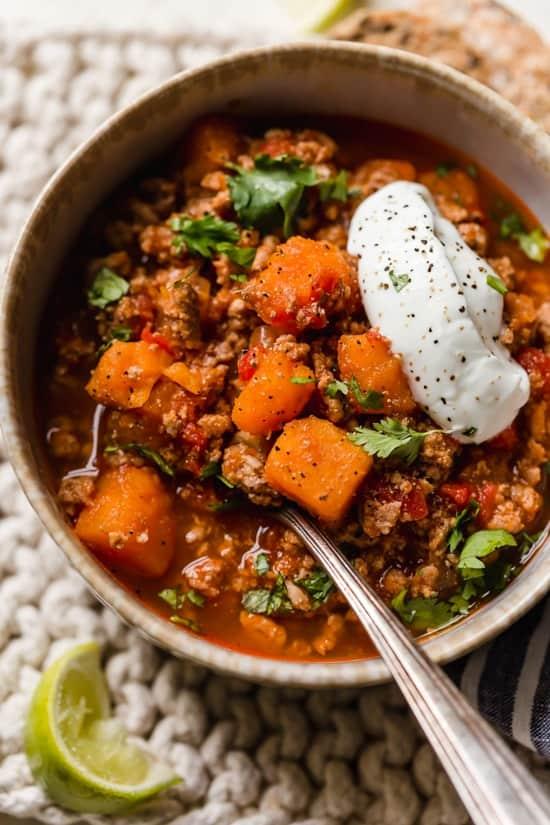 No Bean Turkey & Sweet Potato Chili | Sweet Potato Recipe