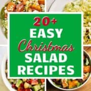 "4 salad images with text overlay ""20+ easy Christmas salad recipes""."