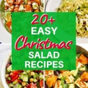 """4 salad images with text overlay """"20+ easy Christmas salad recipes""""."""