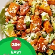 """a roast pumpkin salad with text overlay """"20+ easy Christmas salad recipes"""".4 salad images with text overlay """"20+ easy Christmas salad recipes""""."""