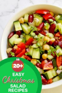"Middle eastern bean salad in a white bowl with text overlay ""20+ easy Christmas salad recipes""."