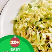 """Cabbage and Crunchy Noodle Salad with text overlay """"20+ easy Christmas salad recipes""""."""