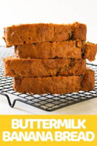Buttermilk Banana Bread slices stacked on a cooling rack.