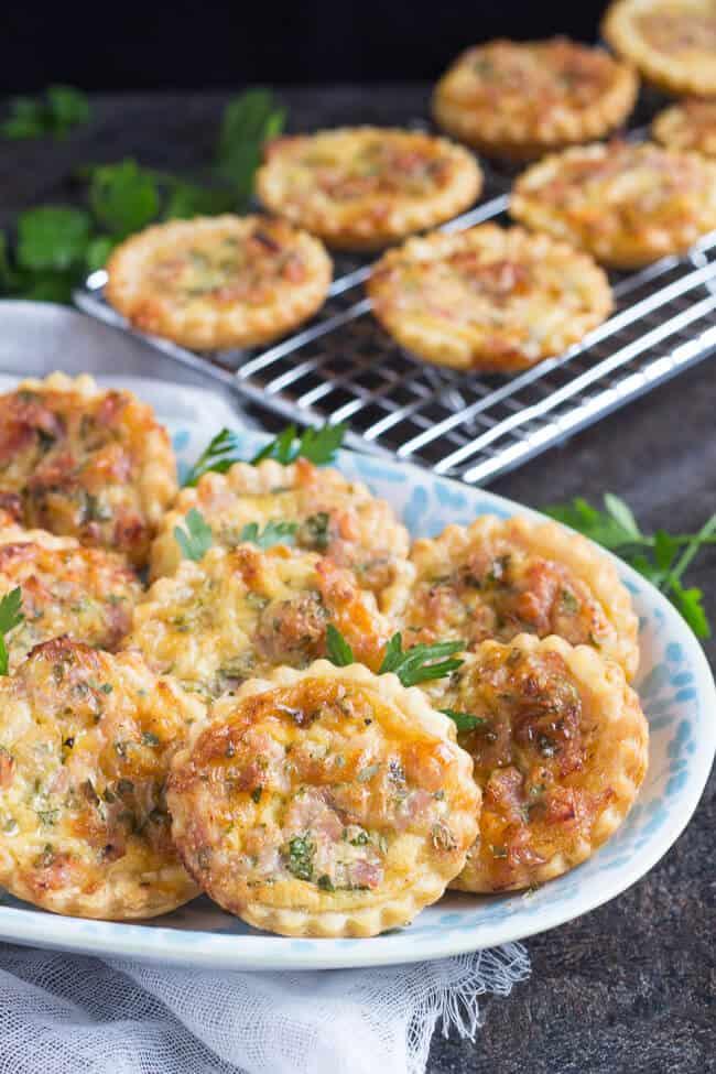 Ham & Cheese Mini Quiche Recipe with Puff Pastry