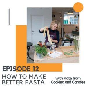 image of a woman folding pasta.
