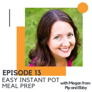"""Headshot of a brunette woman with text overlay """"easy instant pot meal prep""""."""