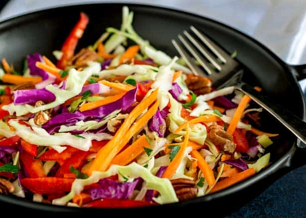 Winter Slaw with Pecans and Maple Dressing