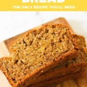 """slices of banana bread stacked on top of each other on a wooden board with text overlay """"banana bread""""."""