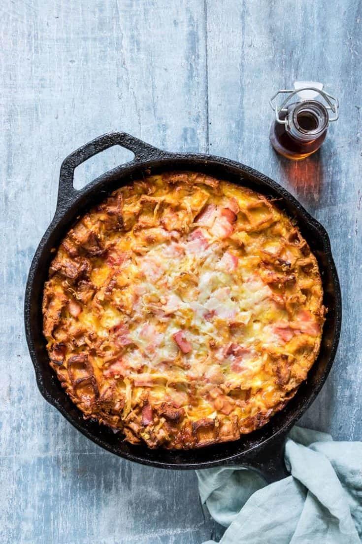 Cheesy Waffle and Ham Breakfast Casserole Recipe + Tutorial