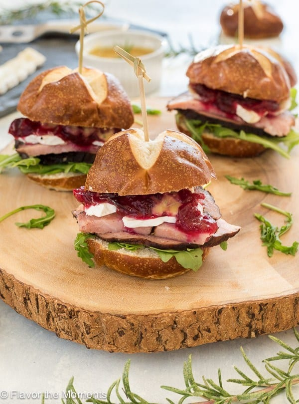 Ham, Brie and Cranberry Sliders with Maple Rosemary Mustard