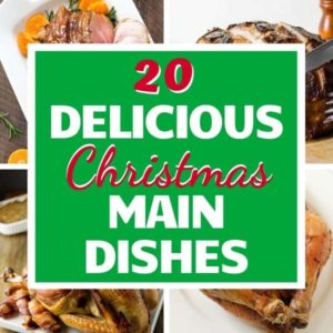 "multiple images of main dishes with text overlay ""30 delicious Christmas main dishes""."
