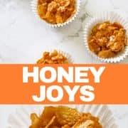 Honey joy in a white paper liner.